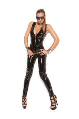 Elegant Moments Deep V vinyl catsuit with zipper front.