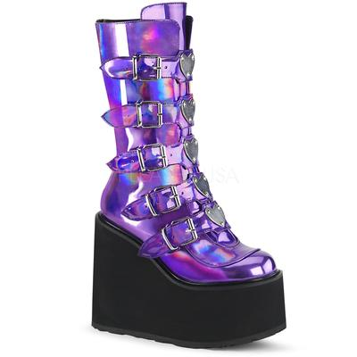 Demonia Platform Mid-Calf Boot Featuring 5 Buckle Straps